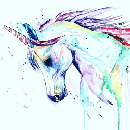 Unicorn watercolor by Lisa Whitehouse