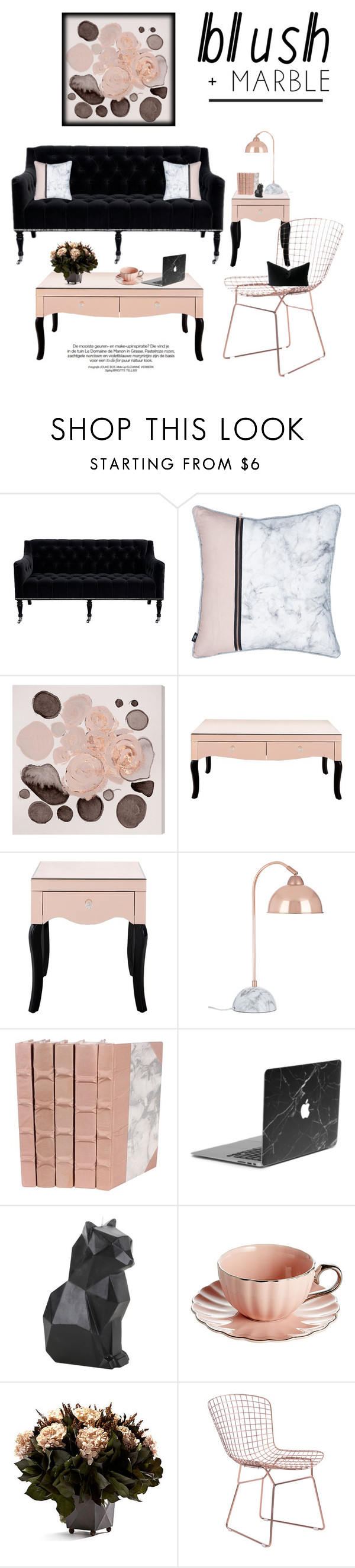 """Blushing Rose Gold & Black Velvet Marble"" by saifai ❤ liked on Polyvore featuring interior, interiors, interior design, home,"