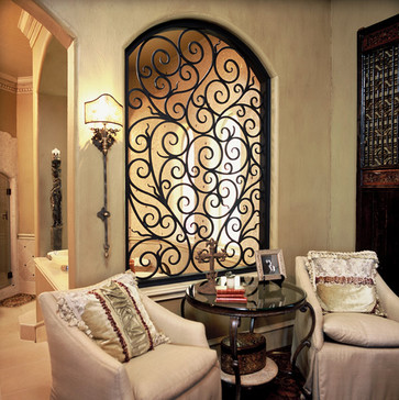 Wrought Iron Window Design Ideas, Pictures, Remodel, and Decor – page 2 maybe a nice back wall sculpture