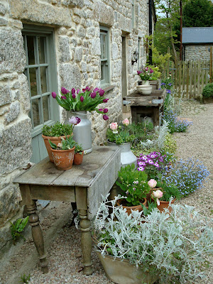 We've moved the old table here and are bringing our plants & pots near the potting shed. We have to get things organized for