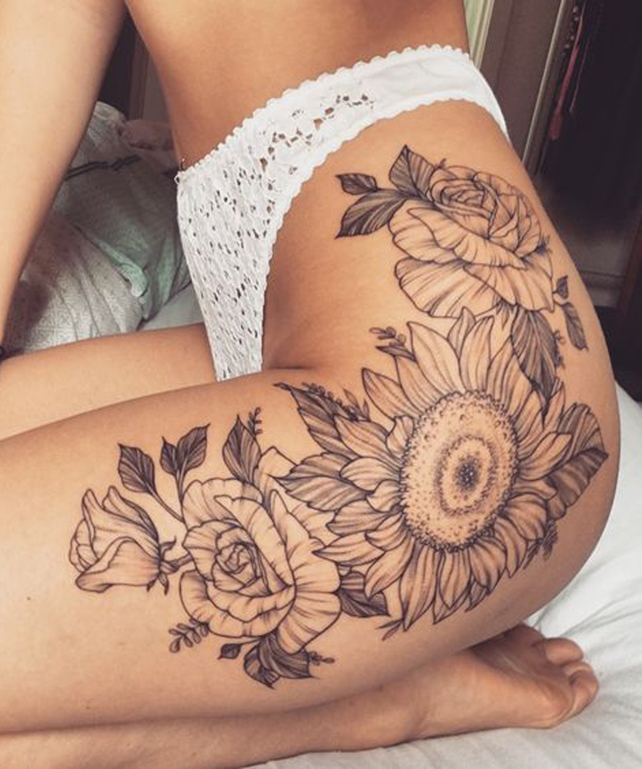 Vintage Black and White Realistic Sunflower Floral Leg Thigh Tattoo Ideas for Women at MyBodiArt.com