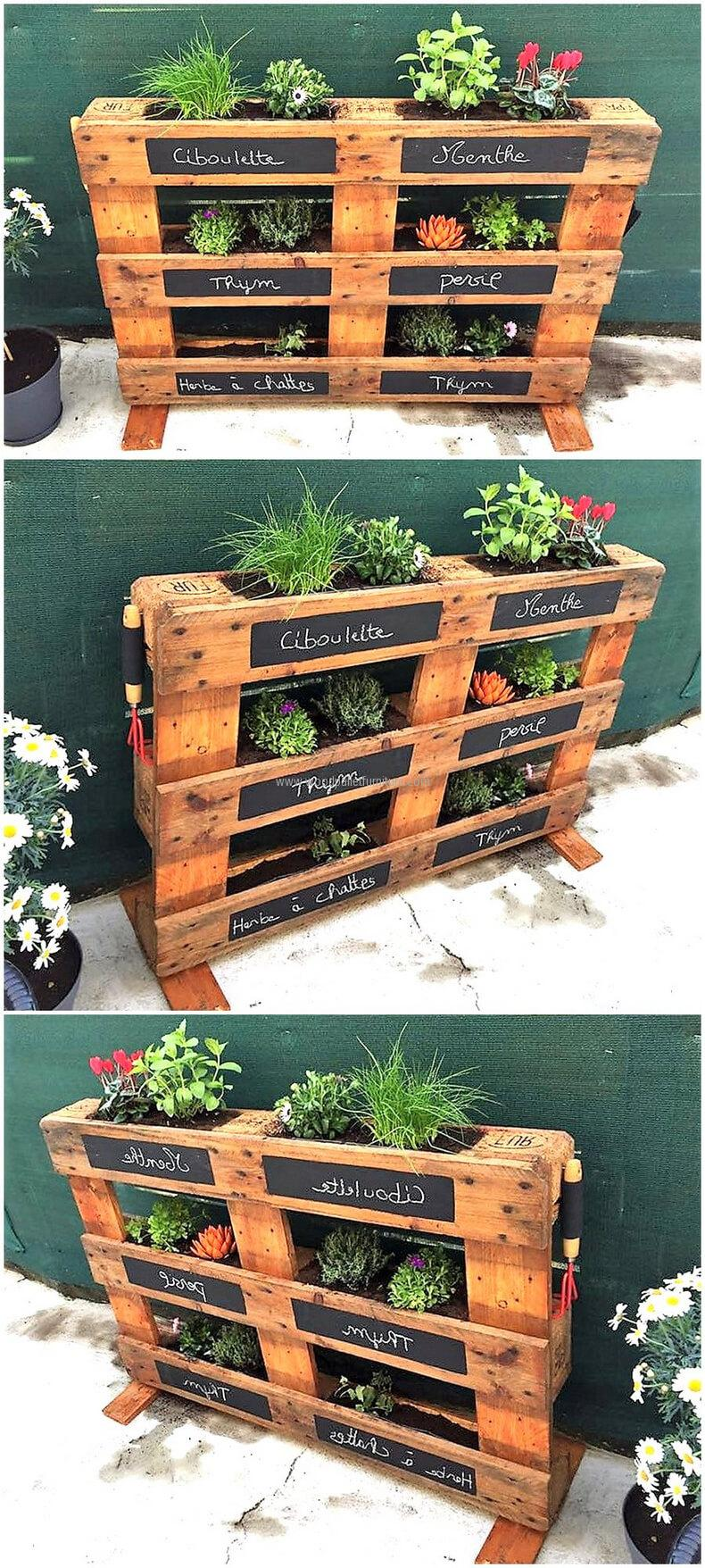 We have shown the reclaimed wood pallet herb planter idea here with which one can decorate the home with the herbs and flowers