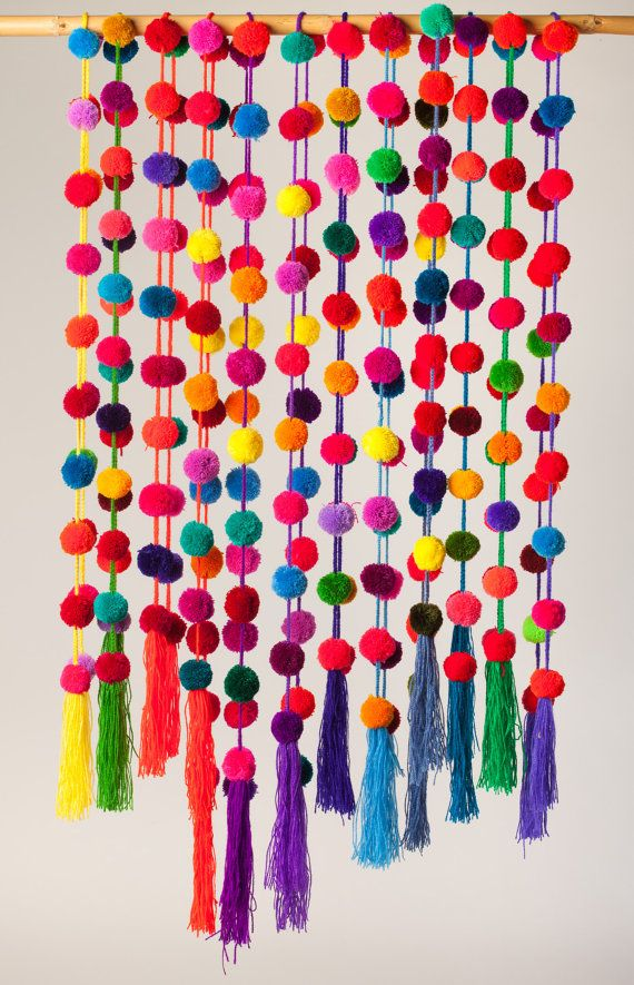 Handmade colorful pompom garlands. Beautiful 150 cm  59 long, multicolored, handmade pompom garland. These colorful garlands are