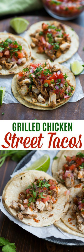 My family goes crazy for these grilled chicken street tacos, and I love how EASY they are to make! Marinated chicken thighs are