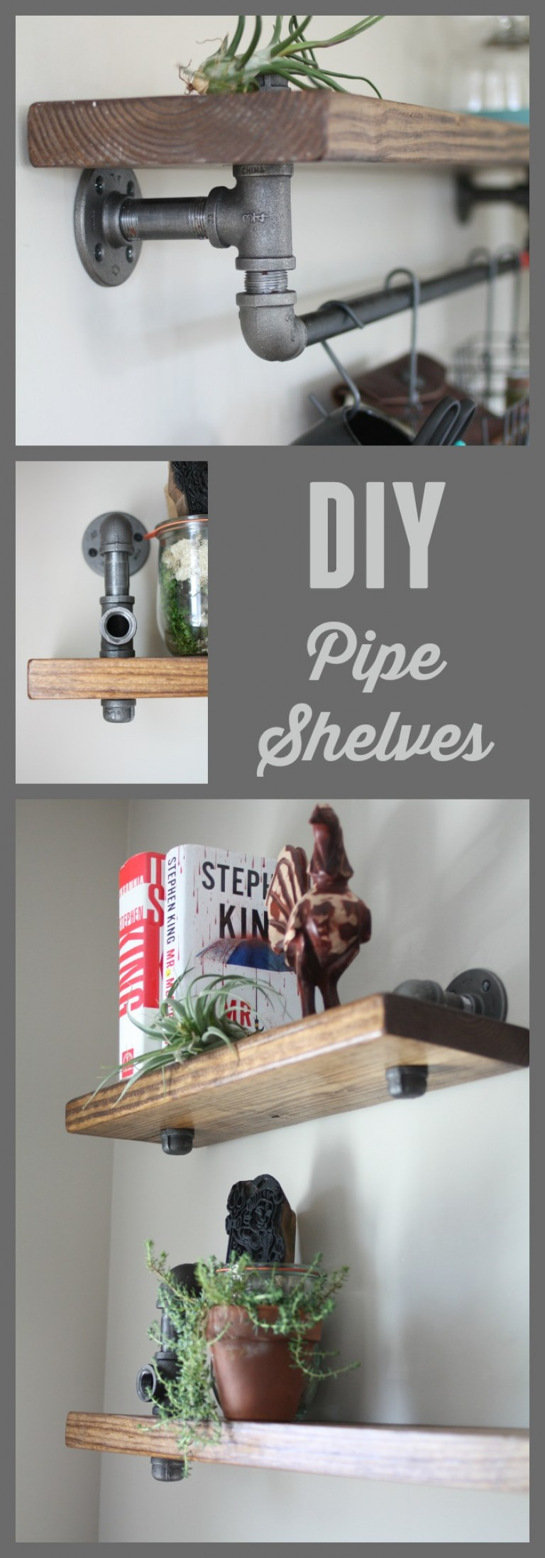 How to make diy industrial shelves from black iron pipe.