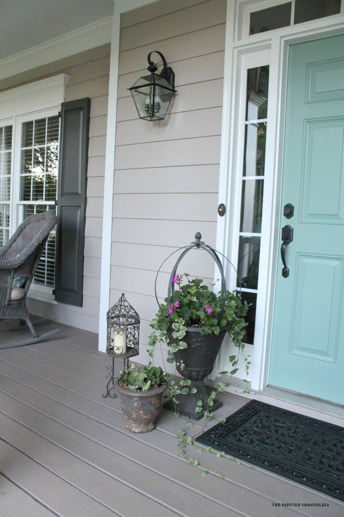 Siding is Pewterworks by Duron (SW can mix Duron colors) Shutters Urbane Bronze SW, Door is Mermaid net by Behr, Rustoleum