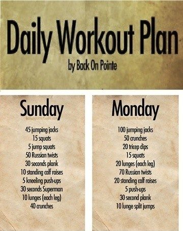 Daily workout exercise