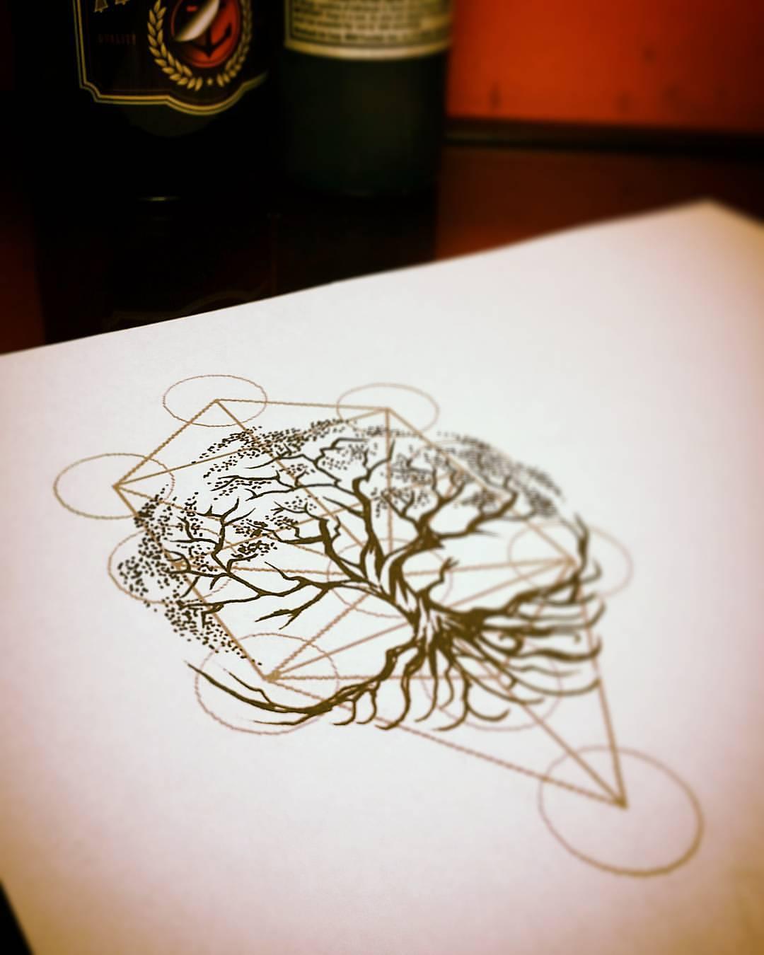 Geometric Tree Of Life Tattoo Design