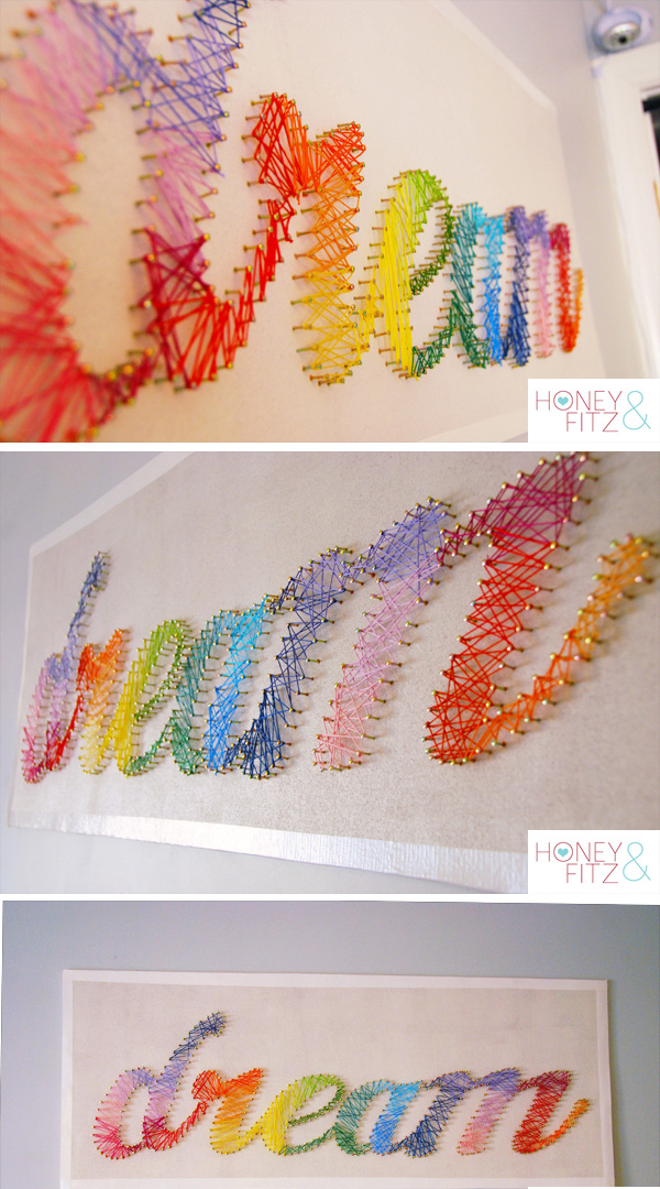 Rainbow String Art tutorial | Honey and Fitz – make a name version instead!