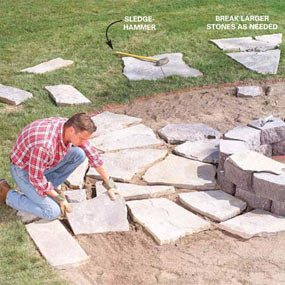 DIY Patio Instructions, looks like it may be circled around a fire pit?  With creeping ground plants in between flag stones! :)