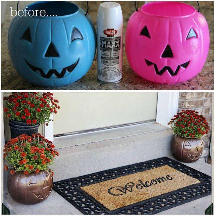 Turn Plastic Pumpkins into Outdoor Planters…these are the BEST Fall Craft Ideas and DIY Home Decor Projects