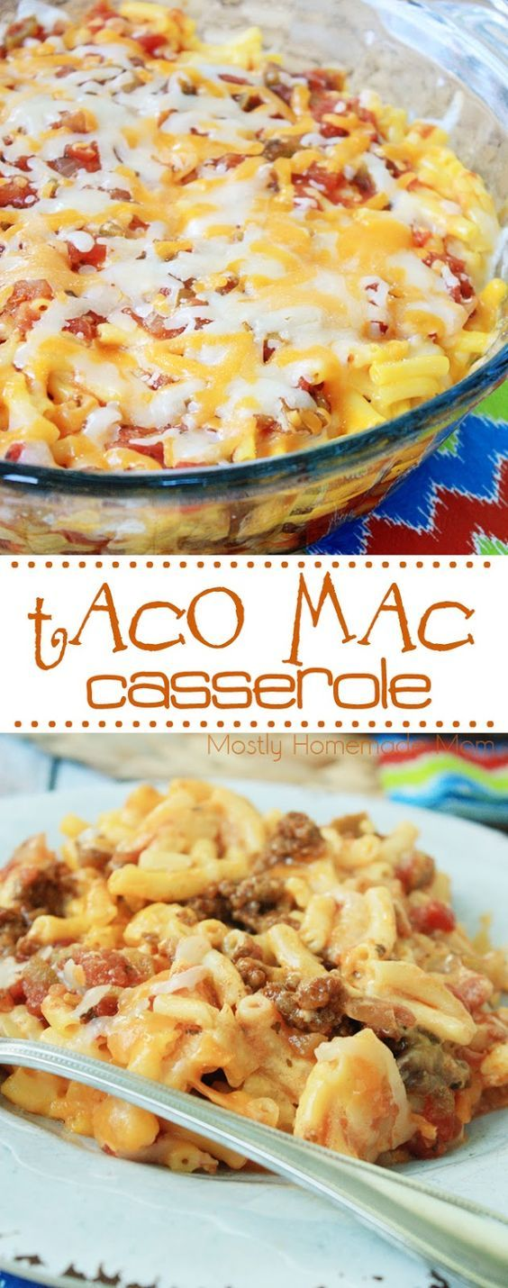 Taco Mac Casserole – a total family favorite dinner! Taco beef, a box of macaroni and cheese, salsa, and cheddar – this is one