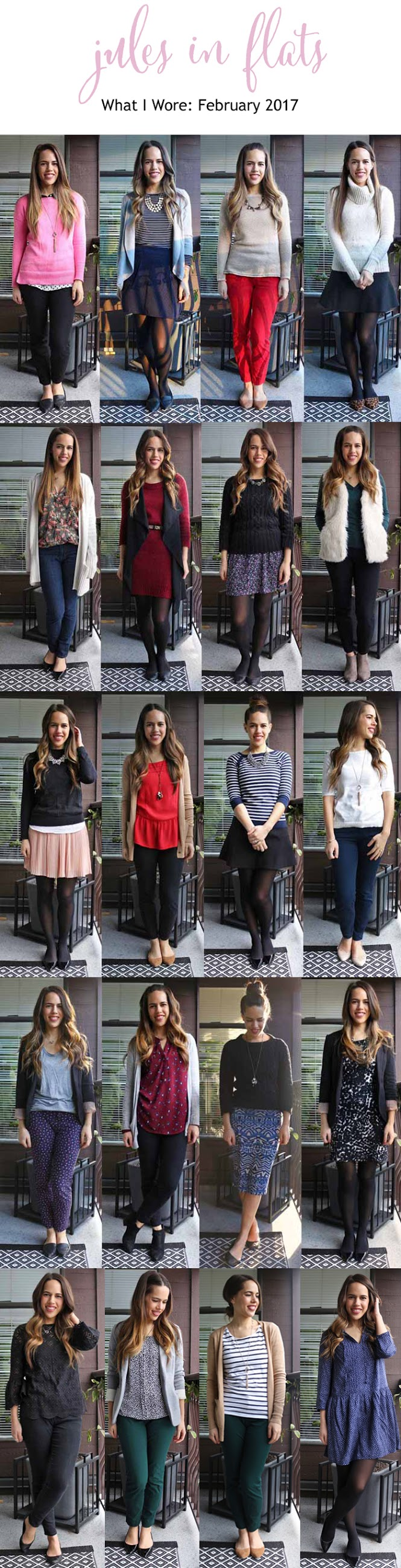 Jules in Flats – Monthly Outfit Roundup February 2017