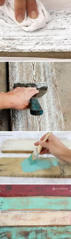 DIY ideas to make wood look old, weathered or distressed.