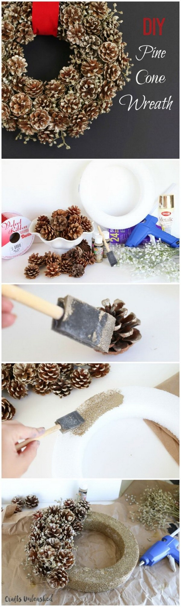 Winter Pine Cone Wreath DIY. Create a simple pine cone wreath for your fall and winter holiday decorating. Love the rustic warm it
