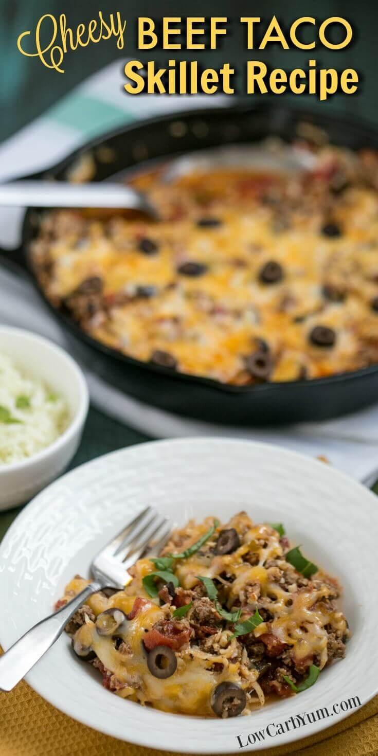 Cheesy Beef Taco Skillet Recipe with Cauliflower Rice via @lowcarbyum