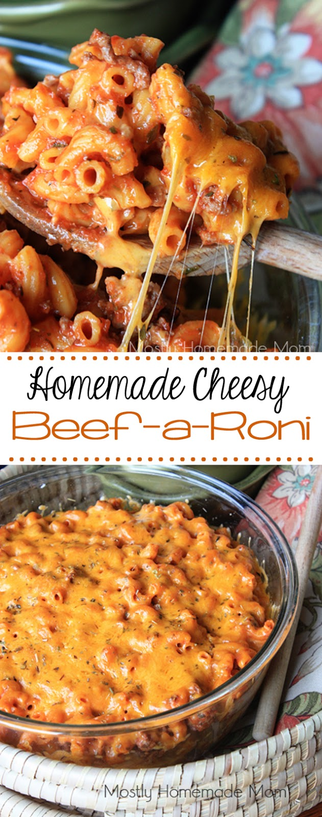 Homemade Cheesy Beefaroni – an amazing tomato meat sauce combined with elbow macaroni noodles and layers of gooey cheddar cheese –