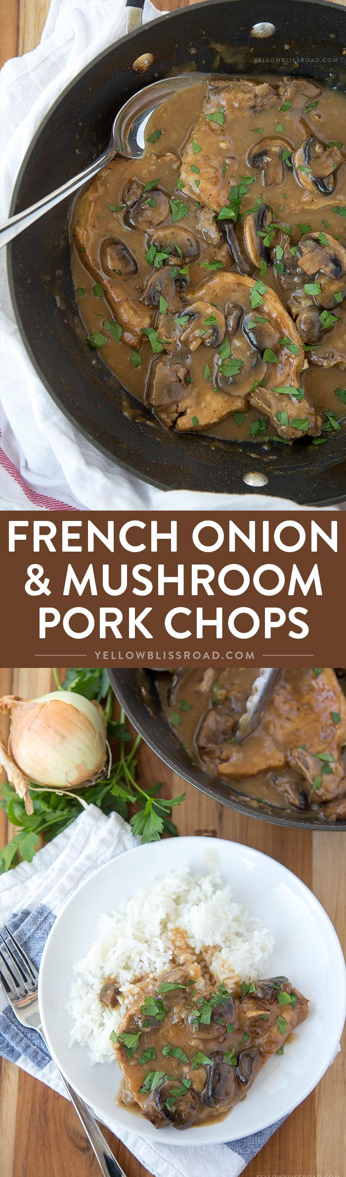French Onion and Mushroom Pork Chops with Gravy – An easy weeknight dinner with just 4 ingredients.