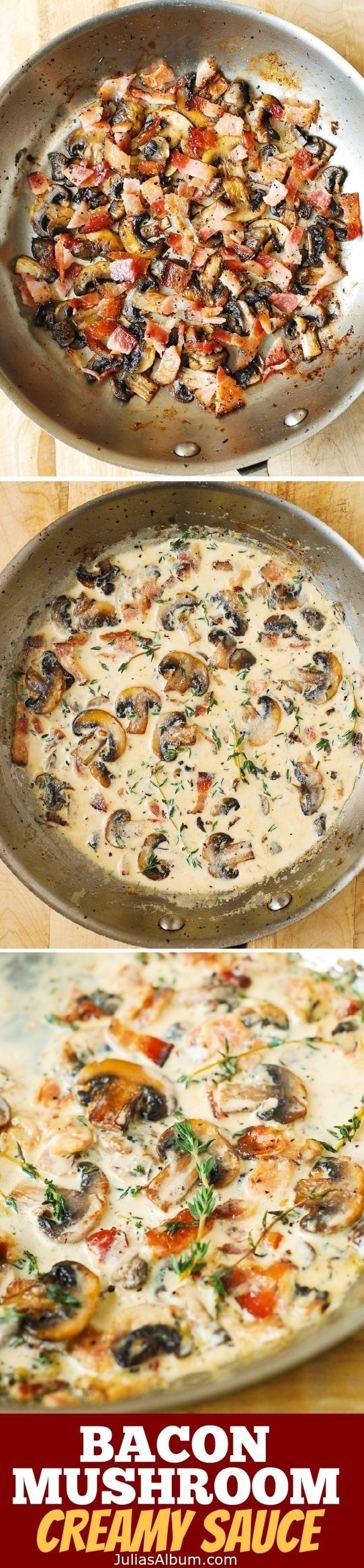 Creamy Mushroom Sauce with Bacon and Thyme – a great accompaniment to baked and grilled meats, chicken, pork, steaks. Gluten free,