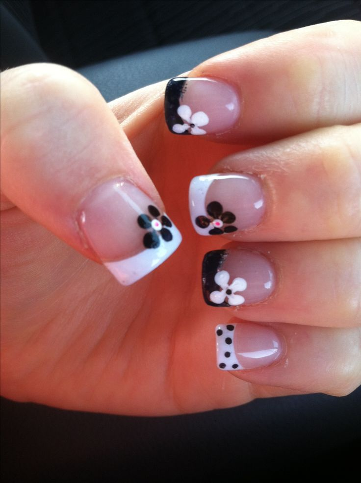 Black and White French Tips with Contrasting Flowers!