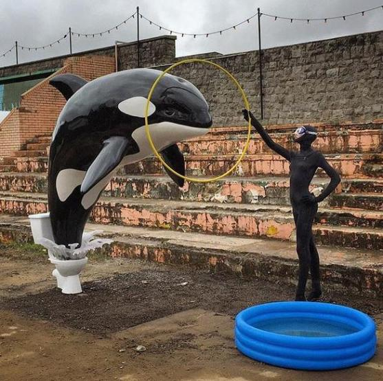 "Killerwhale_jumping_out_of_toilet_-_Banksy's_Theme_Park_""Dismaland"""