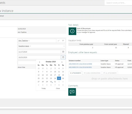 new instance leave request workflow in WEBCON BPS