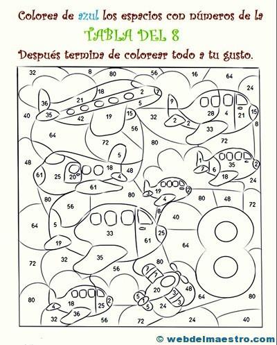 Dibujos Para Colorear De Tablas De Multiplicar