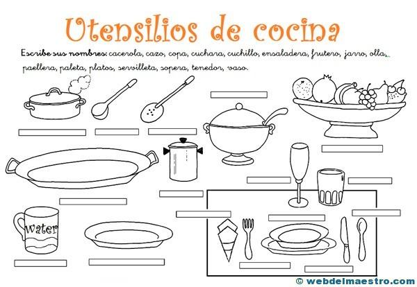 Utensilios de cocina actividades 2 web del maestro for Elementos de cocina para chef