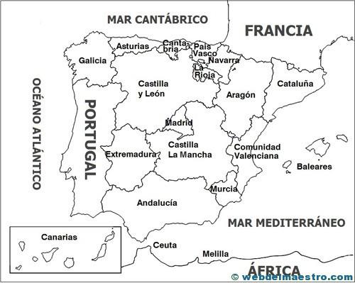 Mapa De España Colorear.Mapa Politico Web Del Maestro