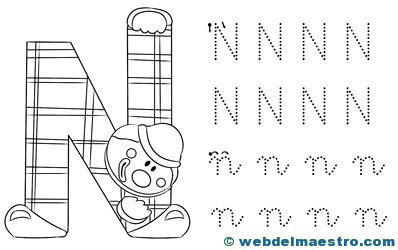 Dibujos Para Colorear Con La Letra N Letra N Para Colorear árbol