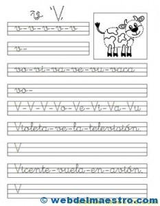 ejercicios de caligrafía-V