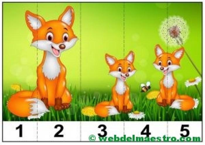 puzzles infantiles para aprender los números y los tamaños