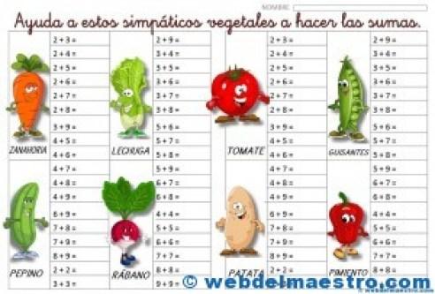 sumas de los vegetales