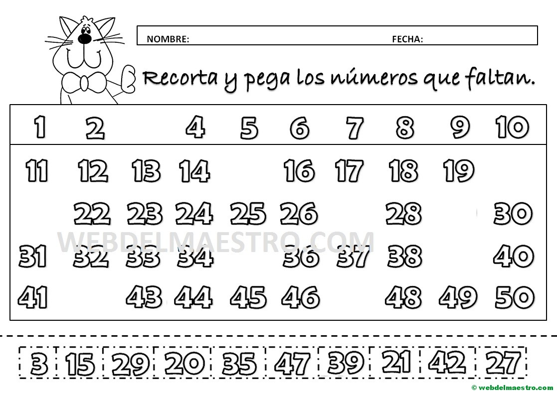 Dibujos Para Colorear Con Numeros Del 1 Al 100: Completar Numeros Del 1 Al 50