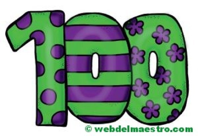 El número cien-100-color