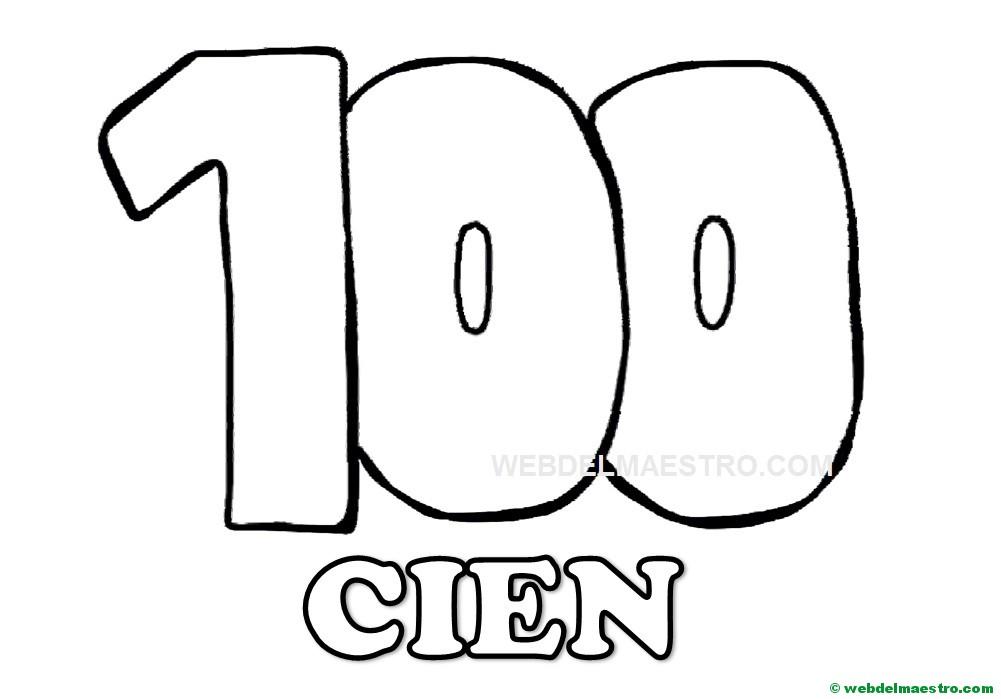 Dibujos Para Colorear Con Numeros Del 1 Al 100: Numero 100 Para Colorear- Web Del Maestro