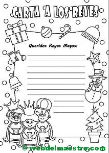 Carta para los reyes magos con pauta simple