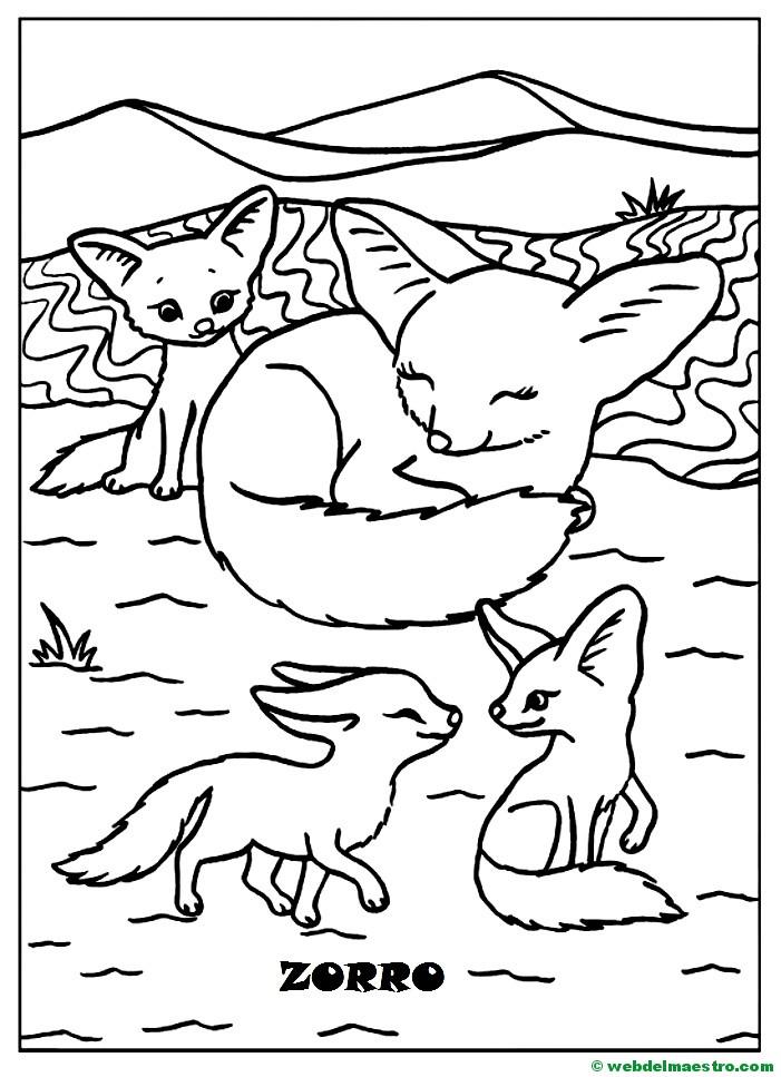 Dibujos Para Pintar Animales Y Sus Crías Zorro Y Sus