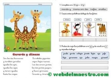 Lecturas infantiles-G-J con actividades-cursiva