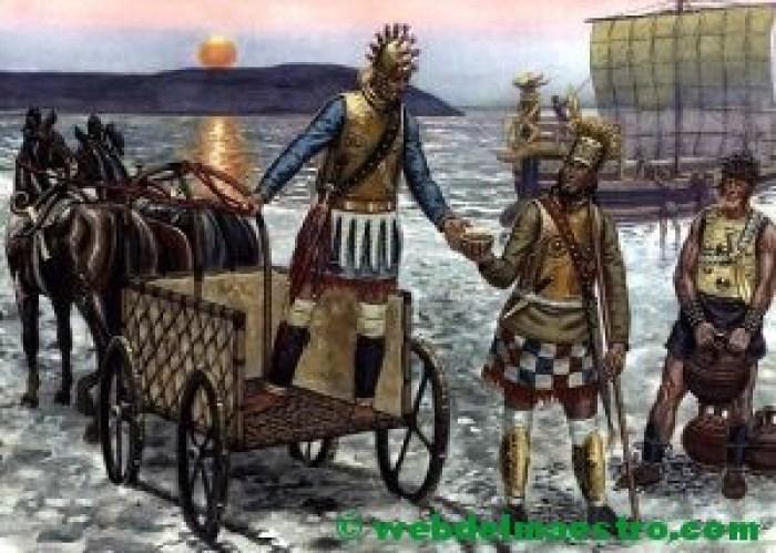 Carro y guerreros de la Edad del Bronce