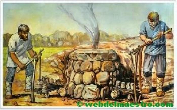Prehistoria-horno de fundición de metal