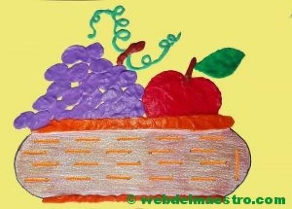 Cesta de frutas-Terminacióncon lana y plastilina