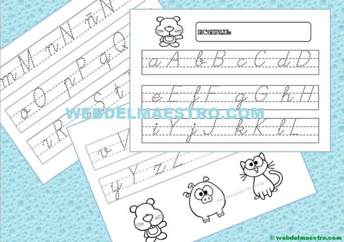 Abecedario infantil en letra cursiva