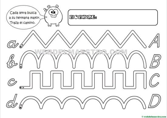 Grafomotricidad-Abecedario infantil-LETRAS A-B-C-D