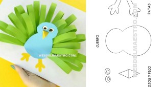 Manualidades infantiles - pavo real de papel