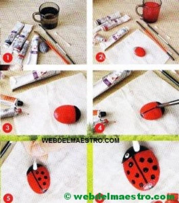 Piedras pintadas a mano paso a paso-mariquitas
