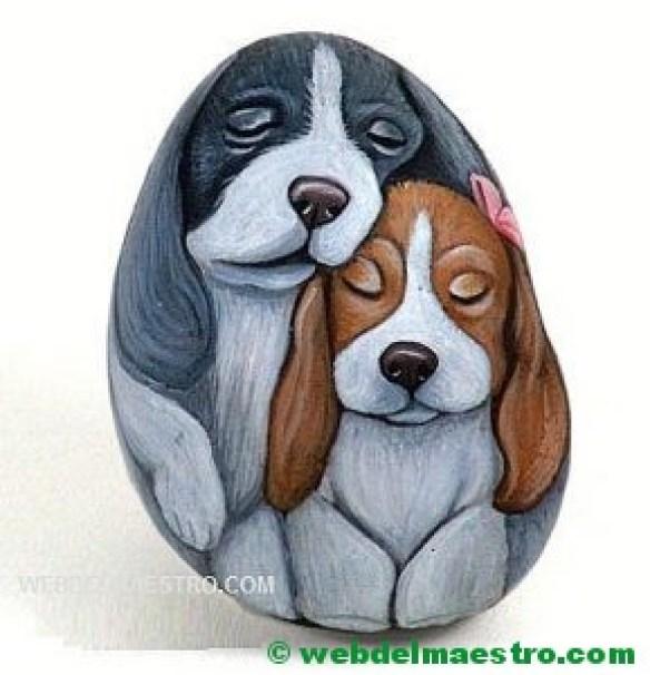 Piedras pintadas a mano-perros