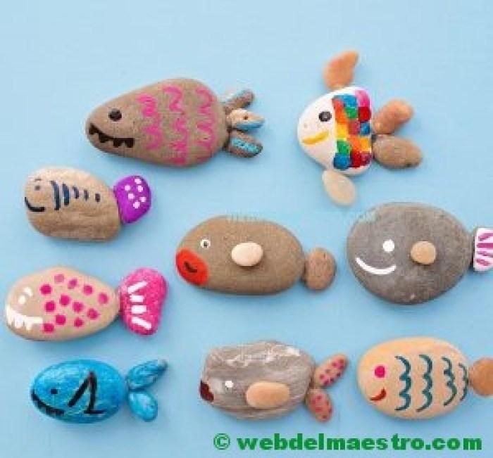 Piedras pintadas con peces