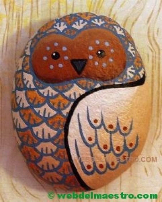 Piedras pintadas-lechuza