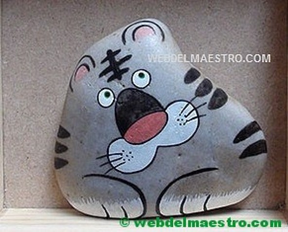 Piedras pintadas par niños-tigre